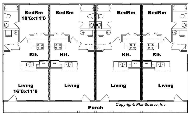 Apartment Plan J1103 11 4 4 Plex Duplex Floor Plans Apartment Plans Mini House Plans