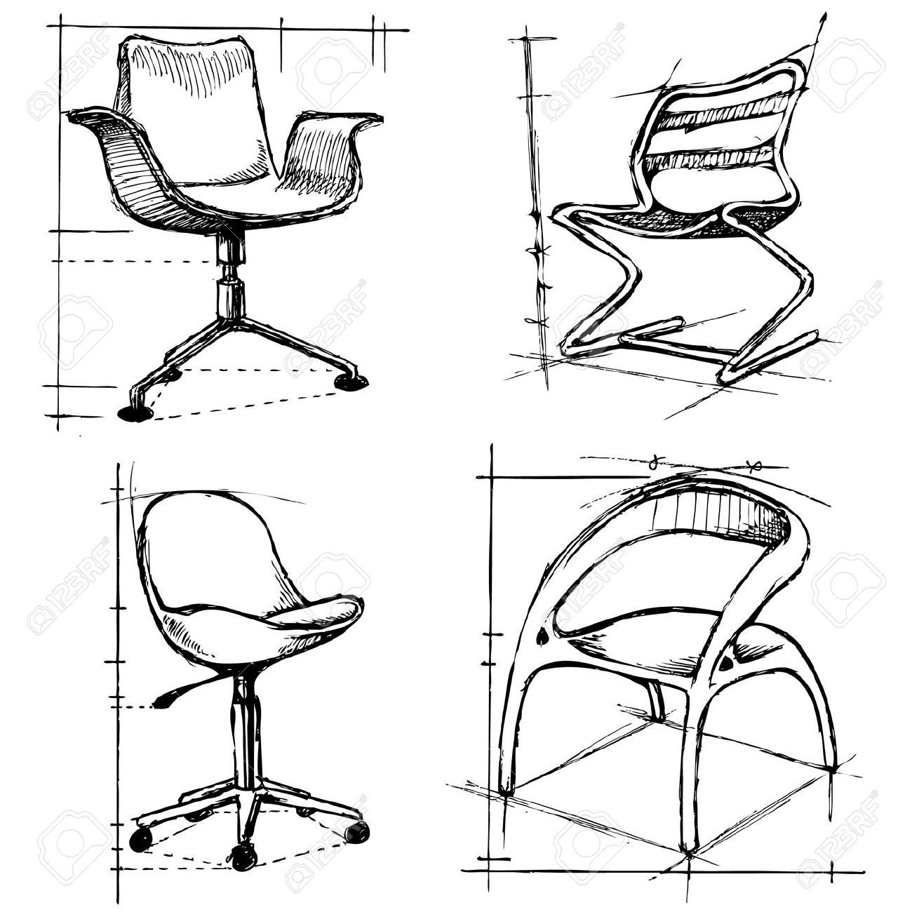 Modern furniture sketches chair sketches -  Modern Furniture Design Sketches