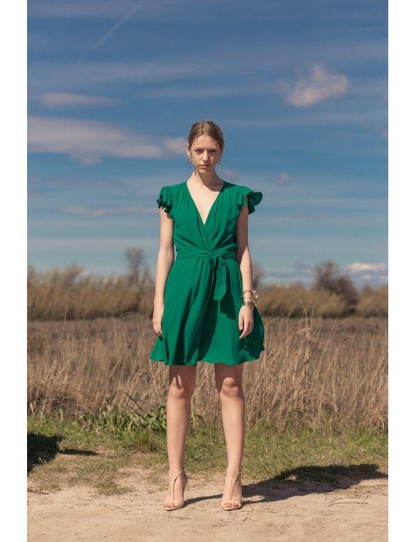 Vert In Feuille Robe Porte Juliette PoldineRobes Dress Émeraude NkOX8nwP0