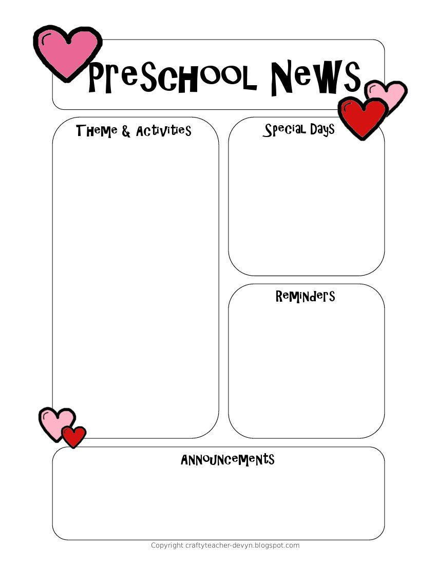 Preschool Newsletter Template  Preschool Newsletter Templates