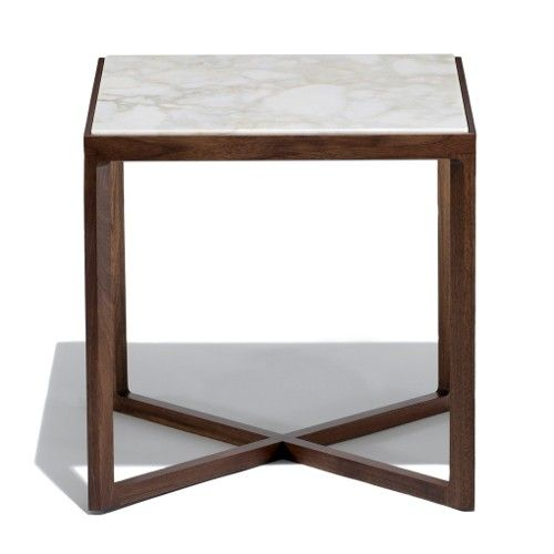 """Krusin Square Side Table with Marble Table Top, 18"""" sq set of 2"""