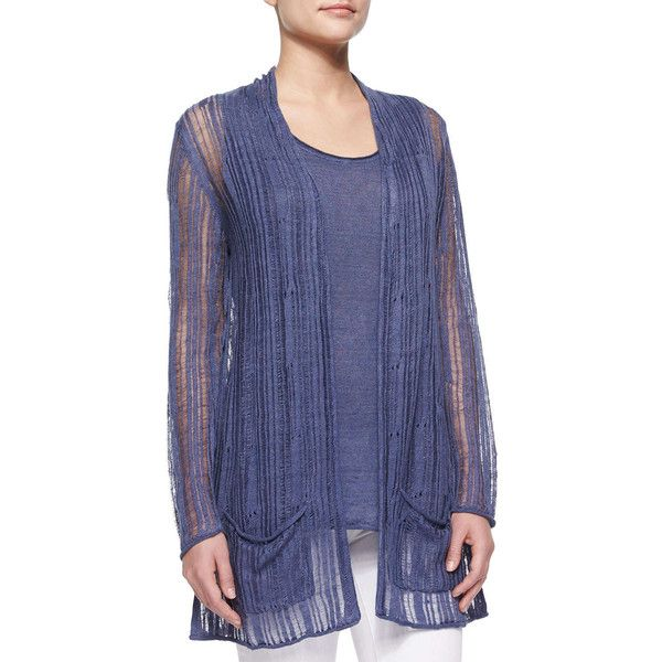 Neiman Marcus Linen Drop-Stitch Cardigan Sweater & Tank Twinset (2,065 MXN) ❤ liked on Polyvore featuring tops, cardigans, denim, blue cardigan, twin set cardigan, blue top, slouchy pullover and sweater pullover