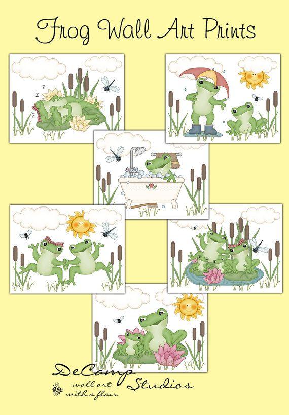 Frog 8x10 Wall Art Prints for pond sea life baby girl boy nursery ...
