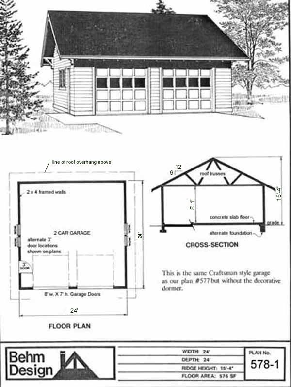 24 x 24 24x24 24 39 x24 39 roof overhang two car garage 2 car for Gable garage plans