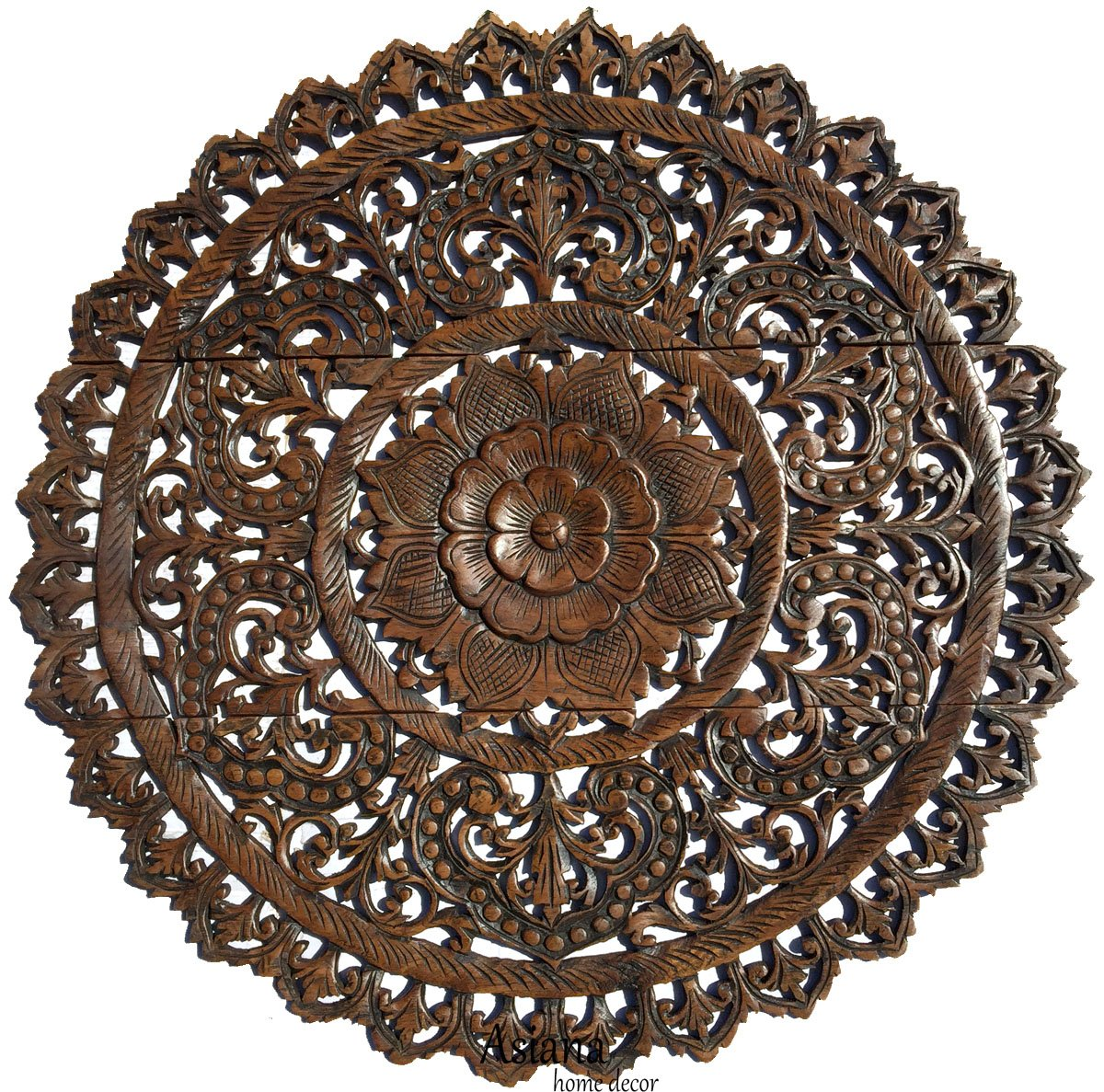 Elegant medallion wood carved wall plaque large round wood carving