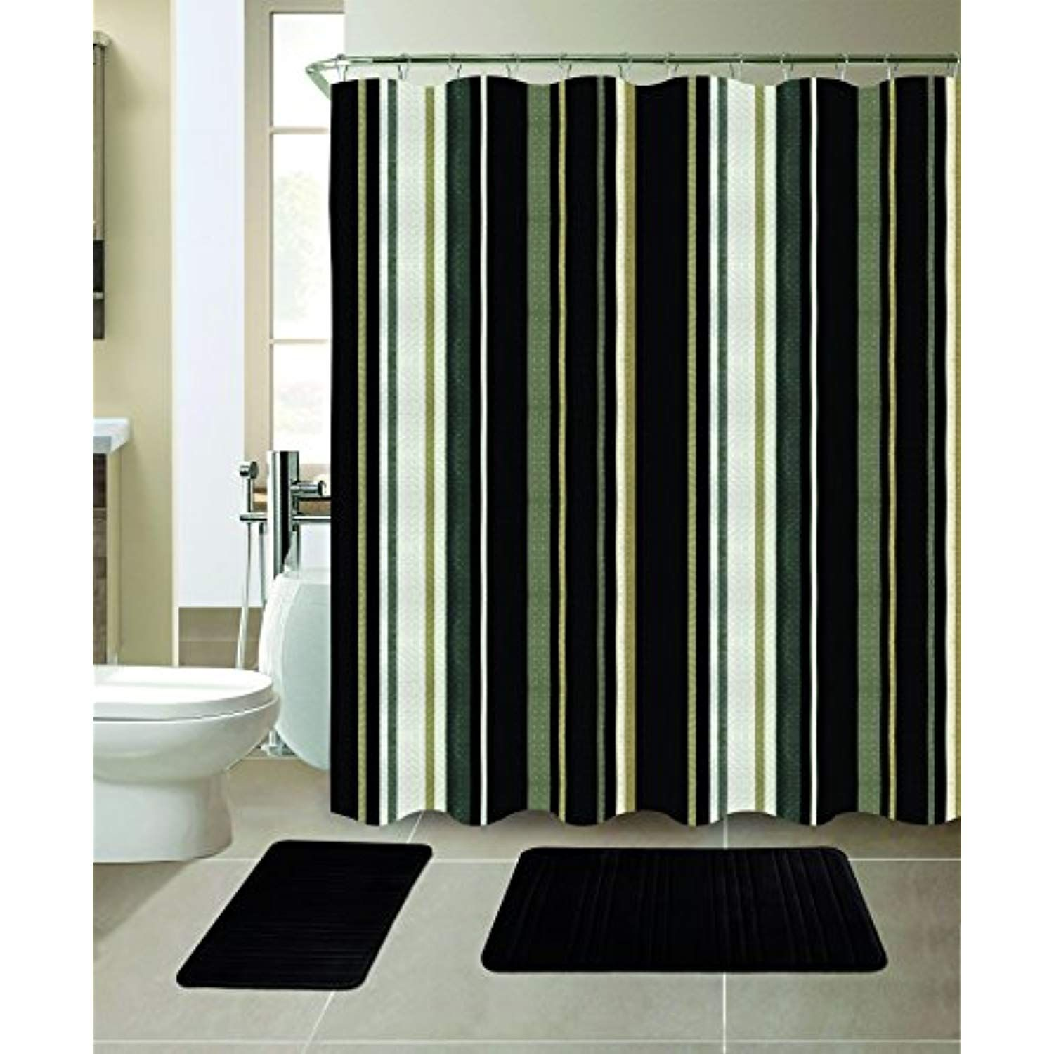 All American Collection New 15 Piece Bathroom Mat Set Memory Foam With Matching Shower With Images Bathroom Shower Curtains Bathroom Wall Colors Bathroom Vanities For Sale