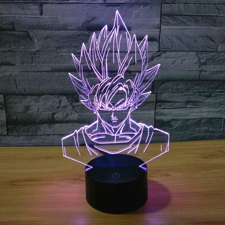 Dragon Ball Z Super Saiyan God Goku Action Figures 3d Table Lamp 7 Color Change Illusion Led Night Light Decor Home Lamp To Dragon Ball Z Dragon Ball Illusions