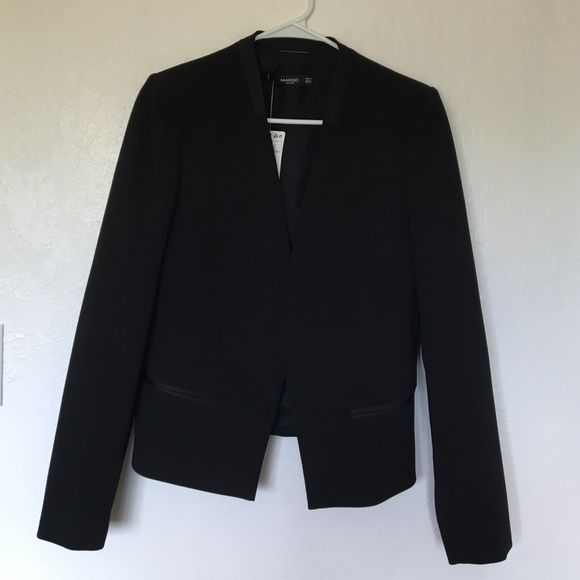 Brand new chic blazer Never worn with tags. Chic black blazer with satin lining around collar and pocket slits. Size S but fits more like an M. Purchased at a Mango in Paris. Mango Jackets & Coats Blazers
