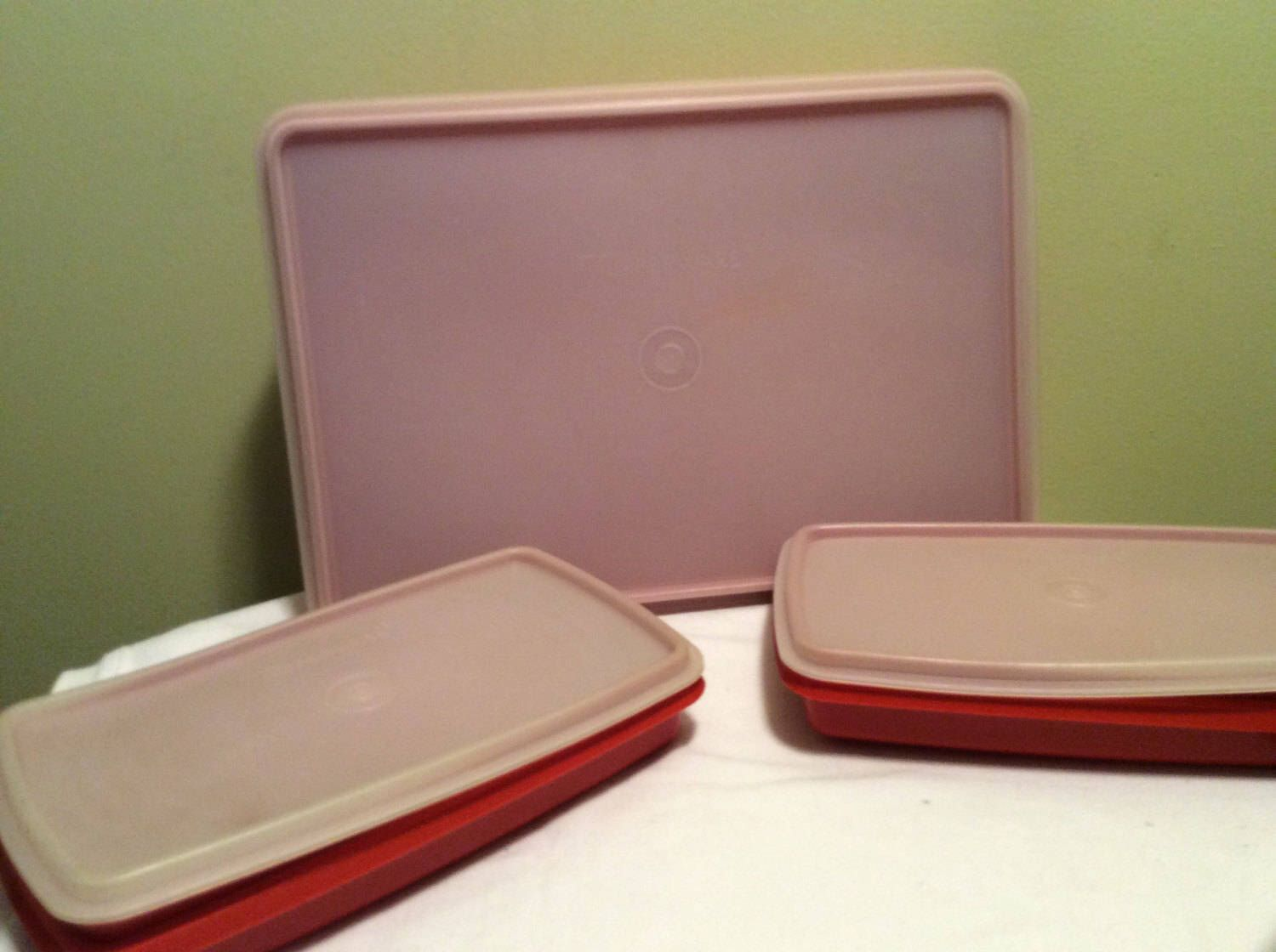 Craft containers with lids - Vintage Tupperware Set Of Three Paprika Red Dark Orange Food Craft Storage Plastic Containers With Lids 816 Rectangle Square