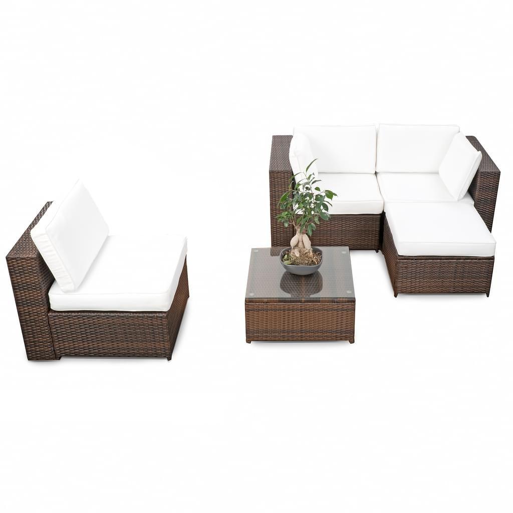 15tlg. Gartenmöbel Balkon Polyrattan Lounge Ecke - braun - modular ...