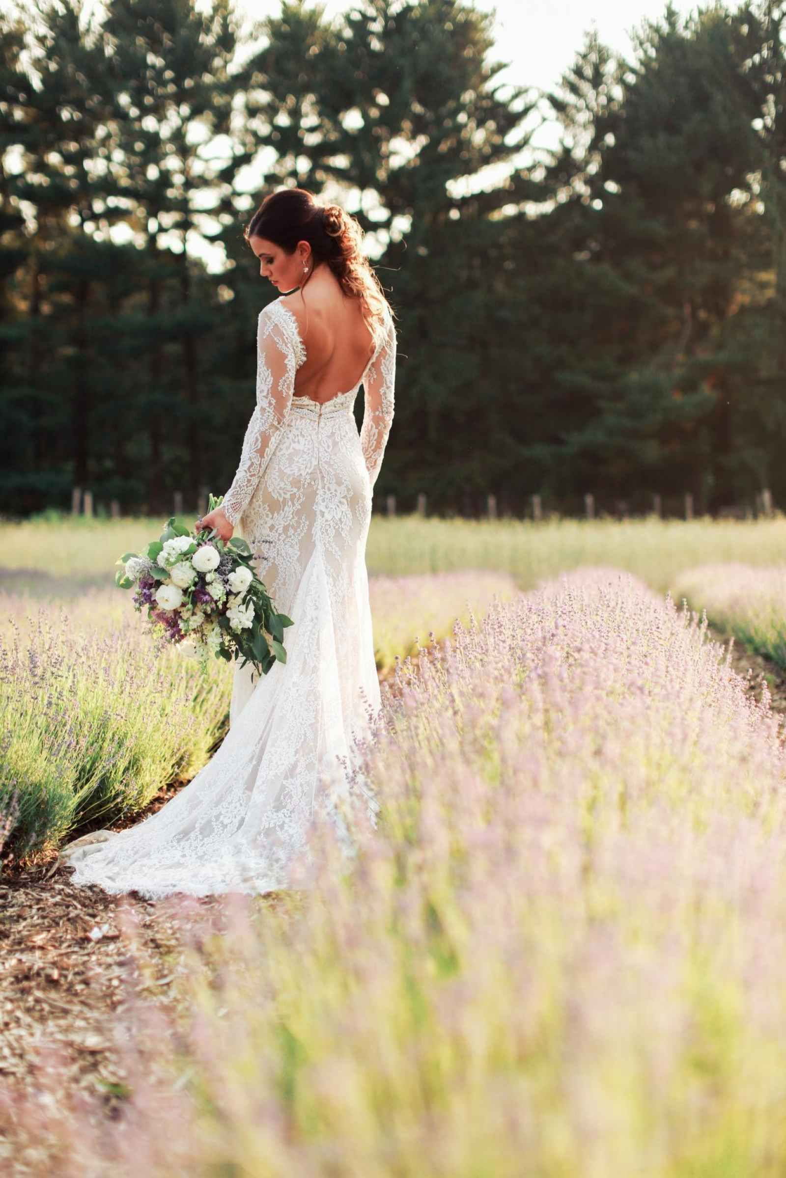 Long Sleeve Lace Wedding Dress With Low Back A Style Shoot In Dreamy Lavender Field Weddingday Magazine