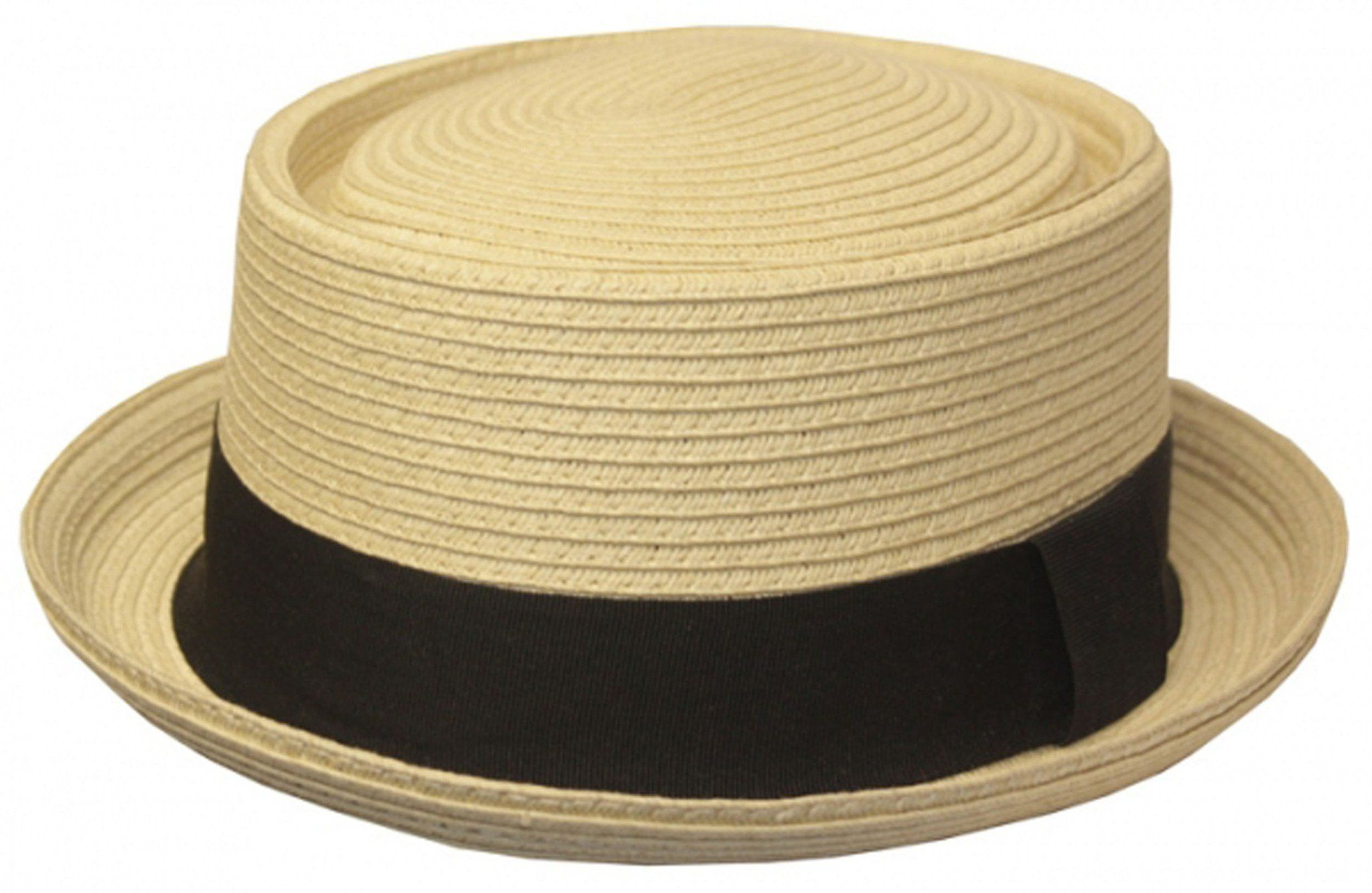 34f8b33f239 Mens Structured 100% Paper Straw Flat Top Pork Pie Fedora Hat ...