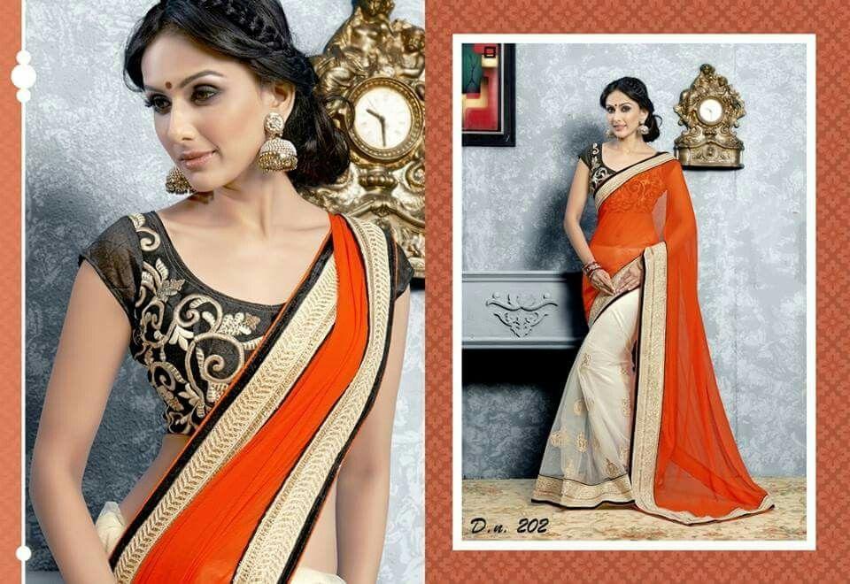Orange Georgette Pallu on a White Net Saree with Black Embroidered Blouse #desistyle # indianfashion # sareesonline