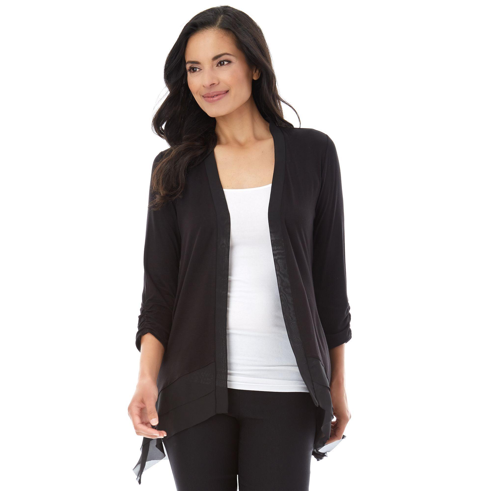 Women's AB Studio Chiffon Trim Cardigan, Size: regular, Black ...