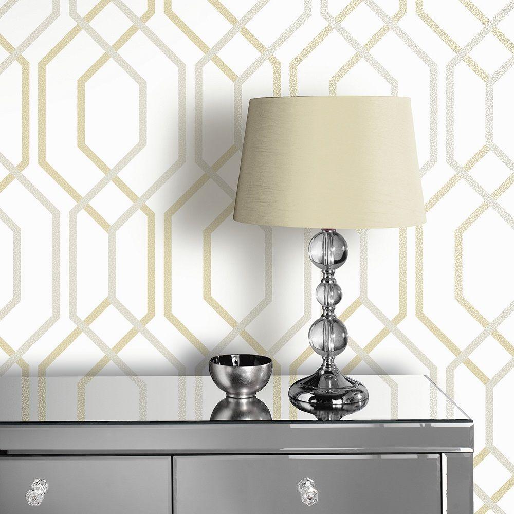Arthouse Artemis Gold Wallpaper | Living room | Pinterest