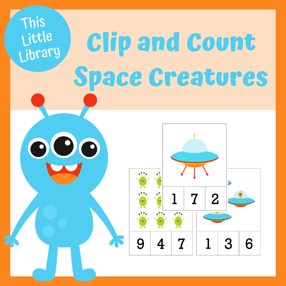 Space Theme Prek And Kindergarten Free Clip And Count Cards Counting Cards Math Activities Early Math [ 960 x 960 Pixel ]