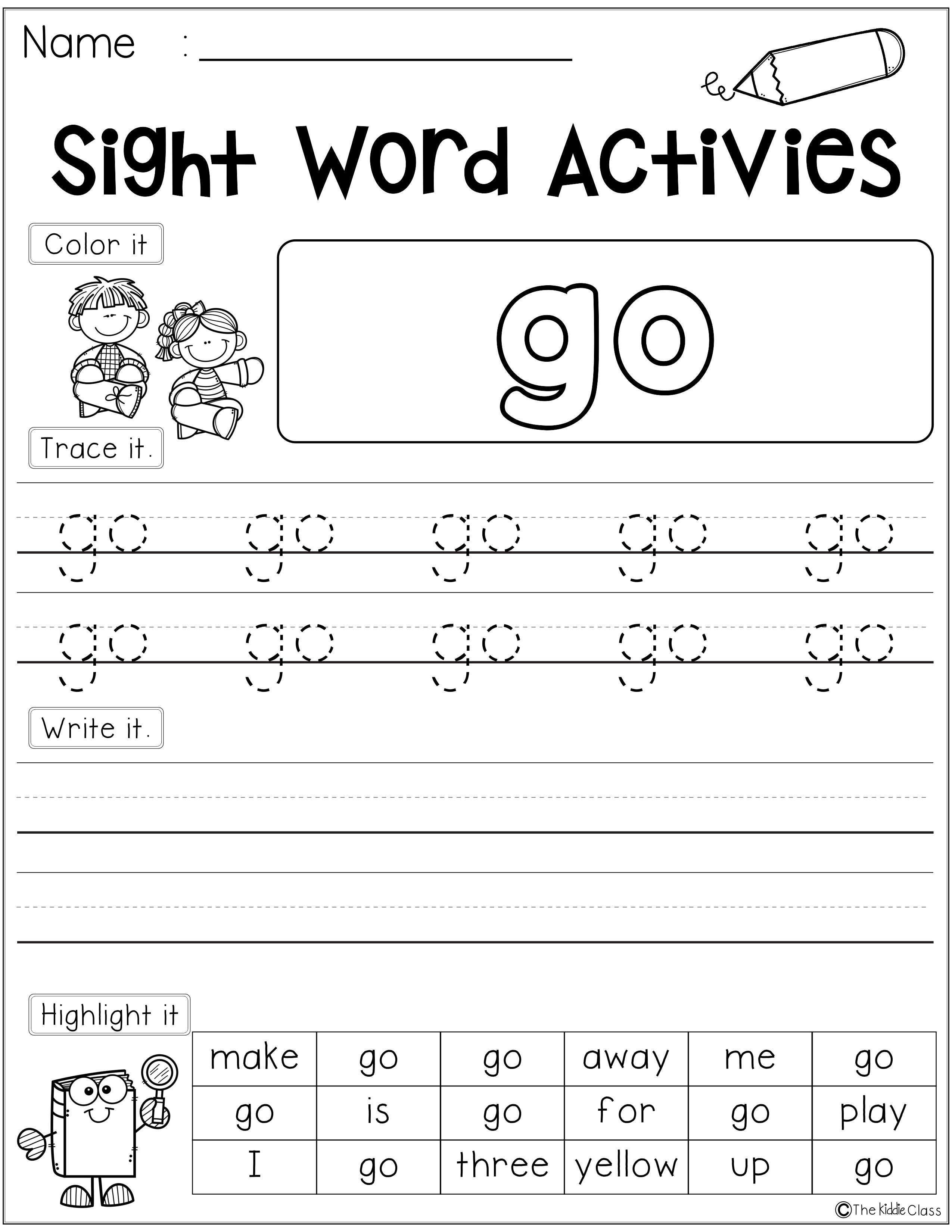 Sight Word Activities Pre Primer Pinterest Primer Worksheets