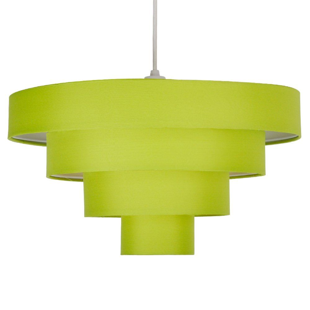 uk availability 43073 63563 Modern 4 Tier Green Fabric Ceiling Pendant Light Shade ...
