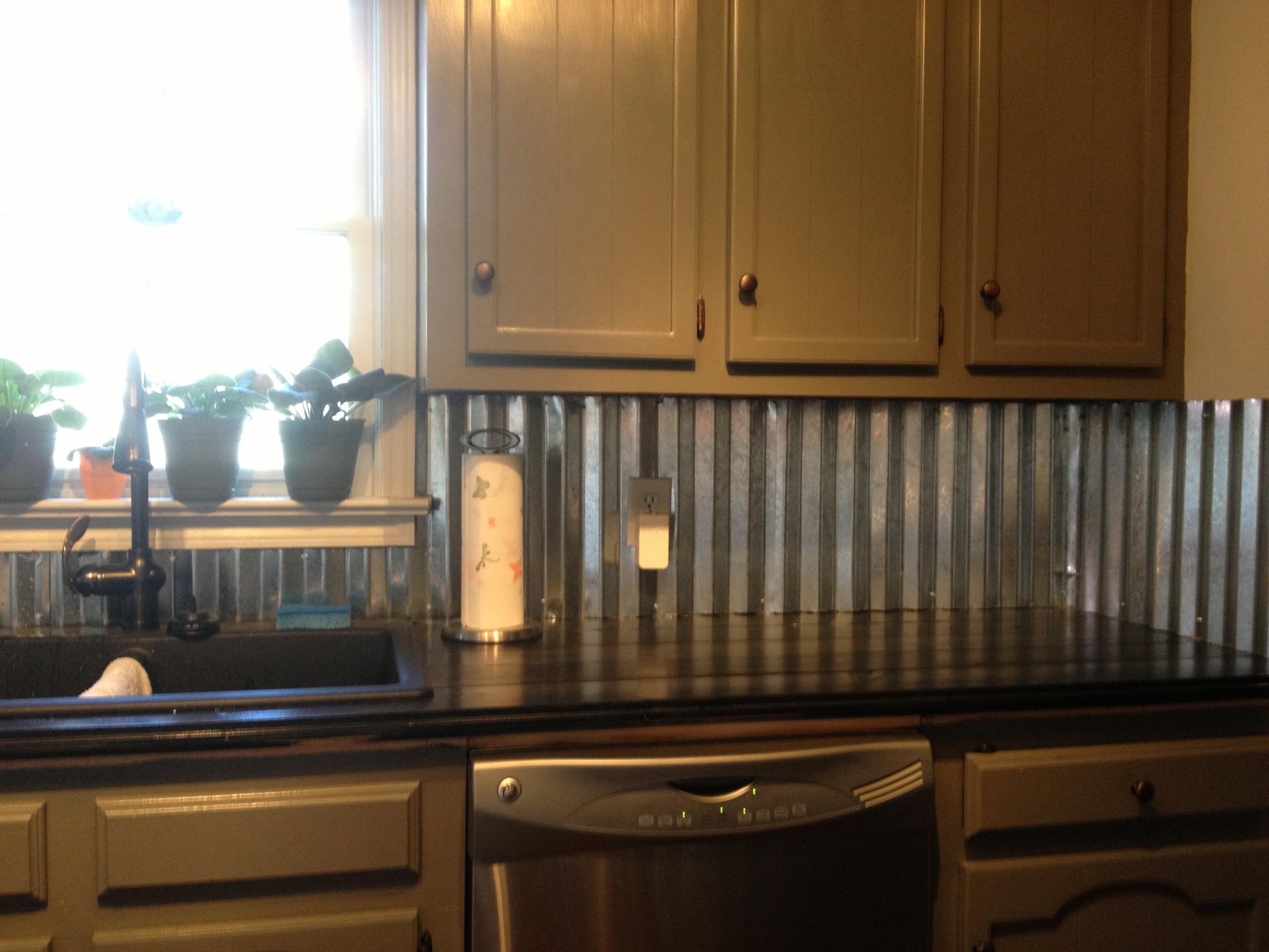 Corrugated Metal For The Backsplash Hmmmm Metal Backsplash Kitchen Metallic Backsplash Unique Kitchen Backsplash