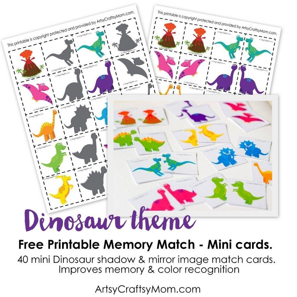 Free Dinosaur Match Game Dinosaur cards, Fun printables