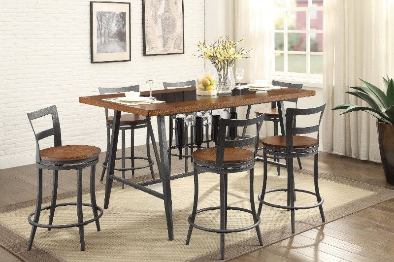 Smart Home 161640 Dark Walnut Black Wine Rack Sideboard Buffet Table Lavorist Black Dining Room Buffet Table Decor Buffet Table