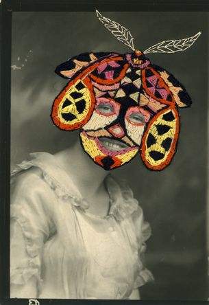 Moth Girl Embroidered Photographs Vintage Photographs Surreal Art