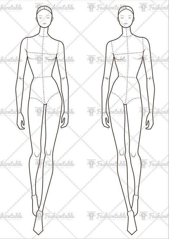 Female Fashion Croquis Template-update | Etsy in 2021 ...