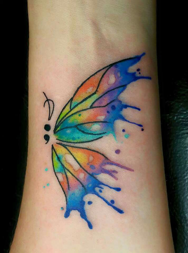 Semi Colon Watercolor Butterfly Done By Orlando Sedillo With Images Watercolor Butterfly Tattoo Butterfly Watercolor Butterfly Tattoo