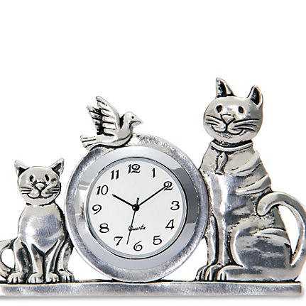 Long Haired Cat Pewter Motif Travel Alarm Clock Mother Father Christmas Gift