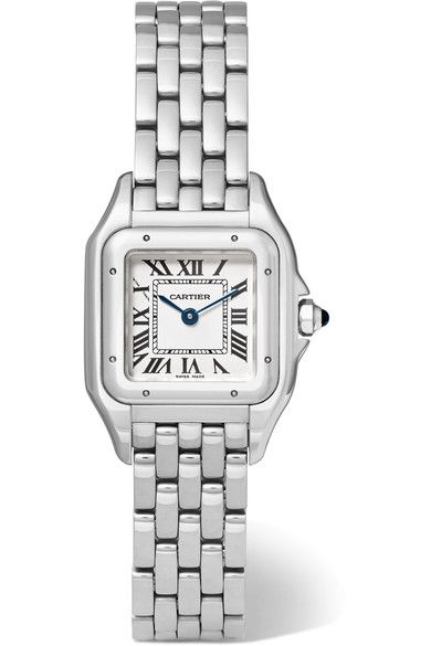 e0fe65a402c Cartier s  Panthère de Cartier  watch has the same feminine soft lines and  rounded corners as the original  83 version. This stainless steel piece has  a ...