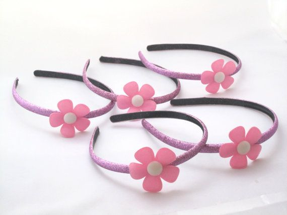 Set of 5 - Purple Headbands With Pink Flowers -Doc McStuffins Party Favors on Etsy, $13.75