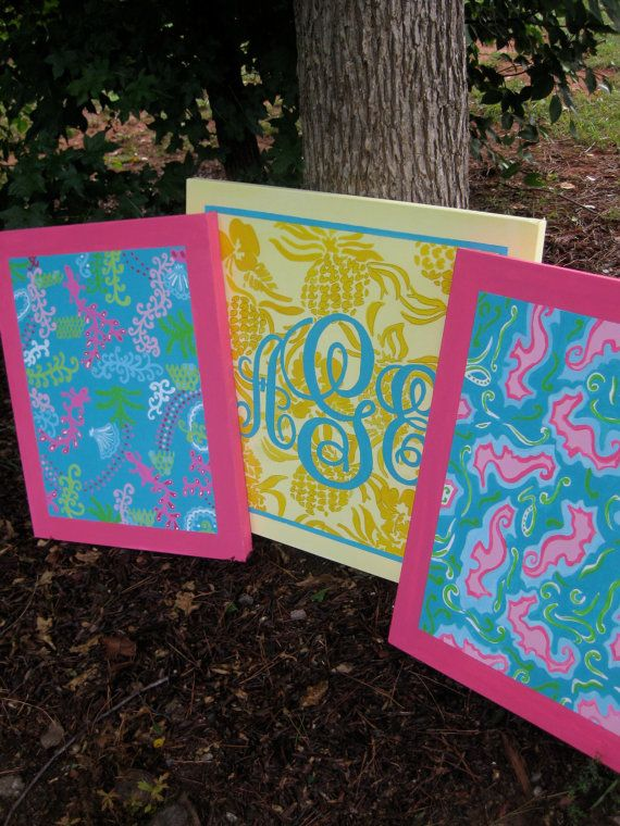 lilly pulitzer-inspired gallery paintings...with a monogram! perfect ...