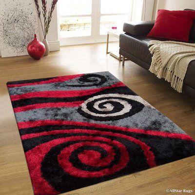 Orren Ellis Janzen Hand Tufted Red Black Area Rug Area Rugs