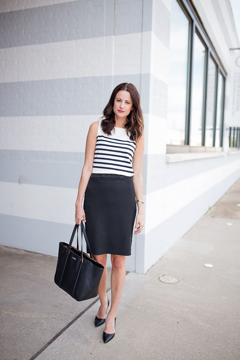 27d7c2b30c The Miller Affect wearing a navy Breton Stripe Tank with a black pencil  skirt