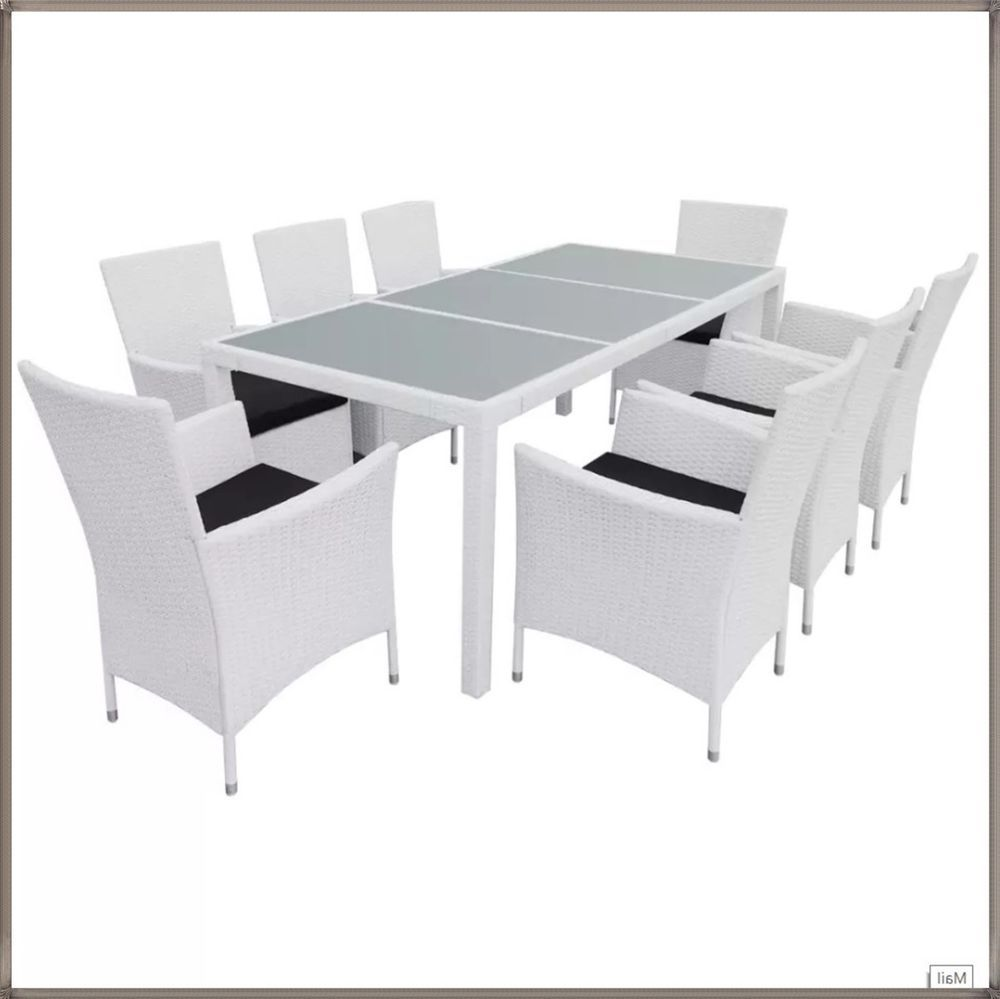 981b1d311add Extra Large Garden Set White Rattan 8 Seater Glass Dining Table & Chairs  Cushion #GPM