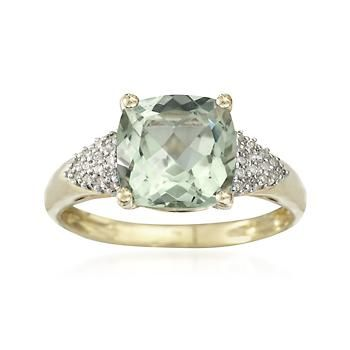 2.70 Carat Green Quartz and .10 ct. t.w. Diamond Ring in 14kt Yellow Gold