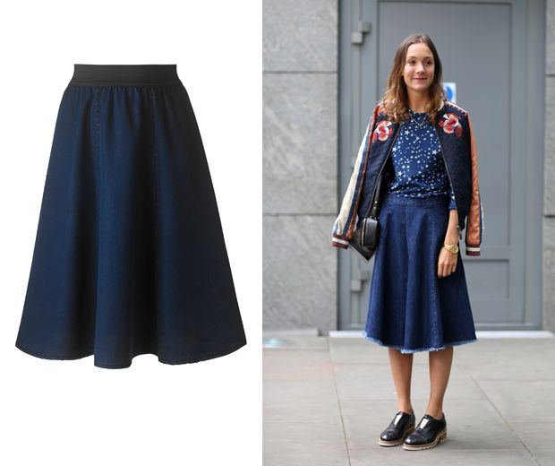 A Line Midi Denim Skirt - Dress Ala