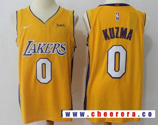 fd857c1315f Men s Los Angeles Lakers  0 Kyle Kuzma New Yellow 2017-2018 Nike Swingman  Wish Stitched NBA Jersey