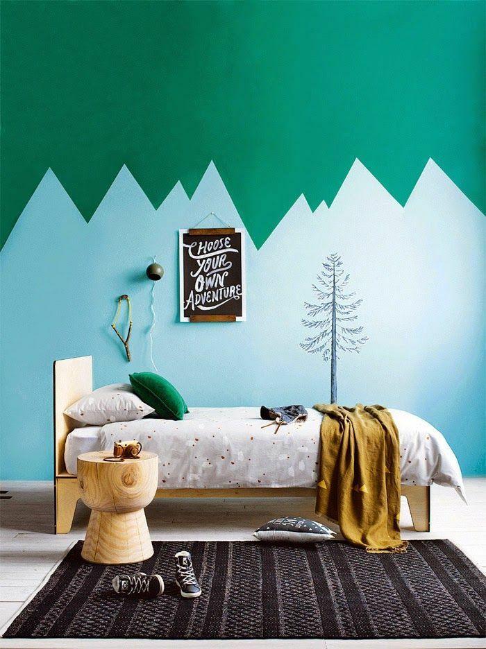 Kinderzimmer Gestalten Wandgestaltung Grün Farben