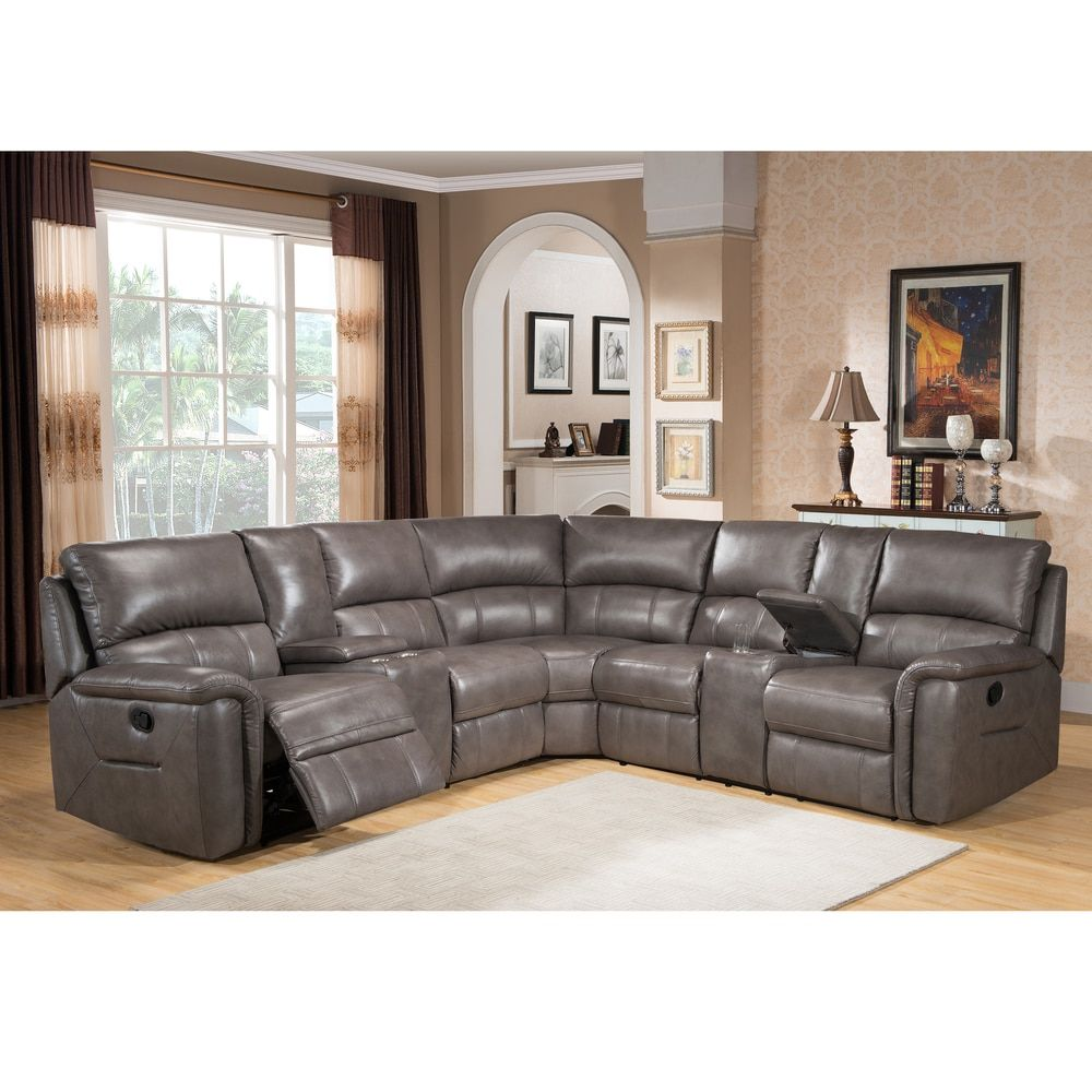 Best Cortez Premium Top Grain Gray Leather Reclining Sectional 640 x 480