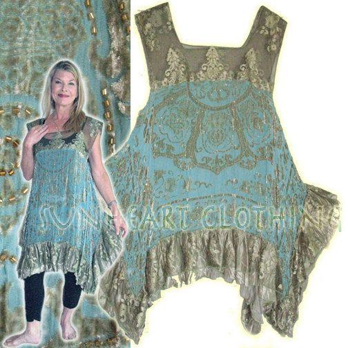 Sunheart Diva Burnout Sage Amp Turquoise Velvet Lagenlook