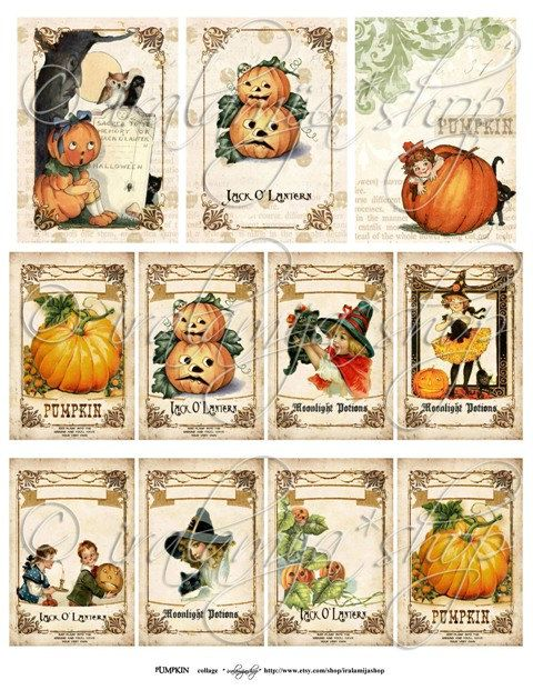 ****This is a Digital Download****Digital Collage Sheet 8 1/2 x 11 PUMPKIN  A beautiful collection of Vintage Halloween images perfect for your scrapbook projects and cards. You will receive 11 images (approx 3 1/2 x 2 1/2 and 2 x 3 each image) on a JPEG File ( this digital collage is for you to PRINT the images)    SENDING / RECEIVING:  The file / instant download link will be READY to download in your invoice.    This is a digital sheet, The watermark will not be on the digital file that…