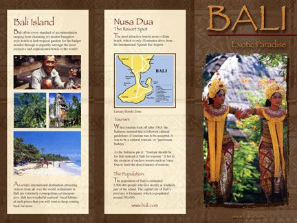 bali travel brochure, designed by Sue Risley Graphic Design. Nice ...