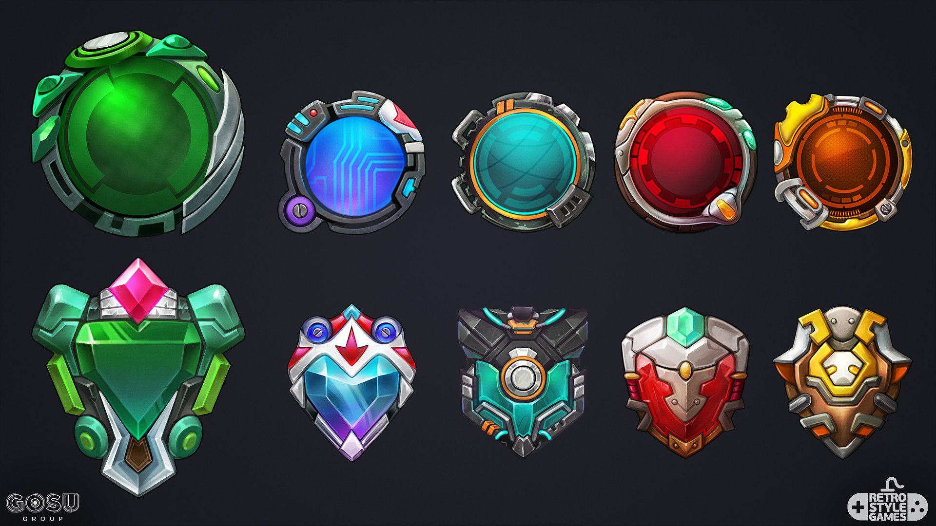 Various icons for Chrono Strike mobile fighting game