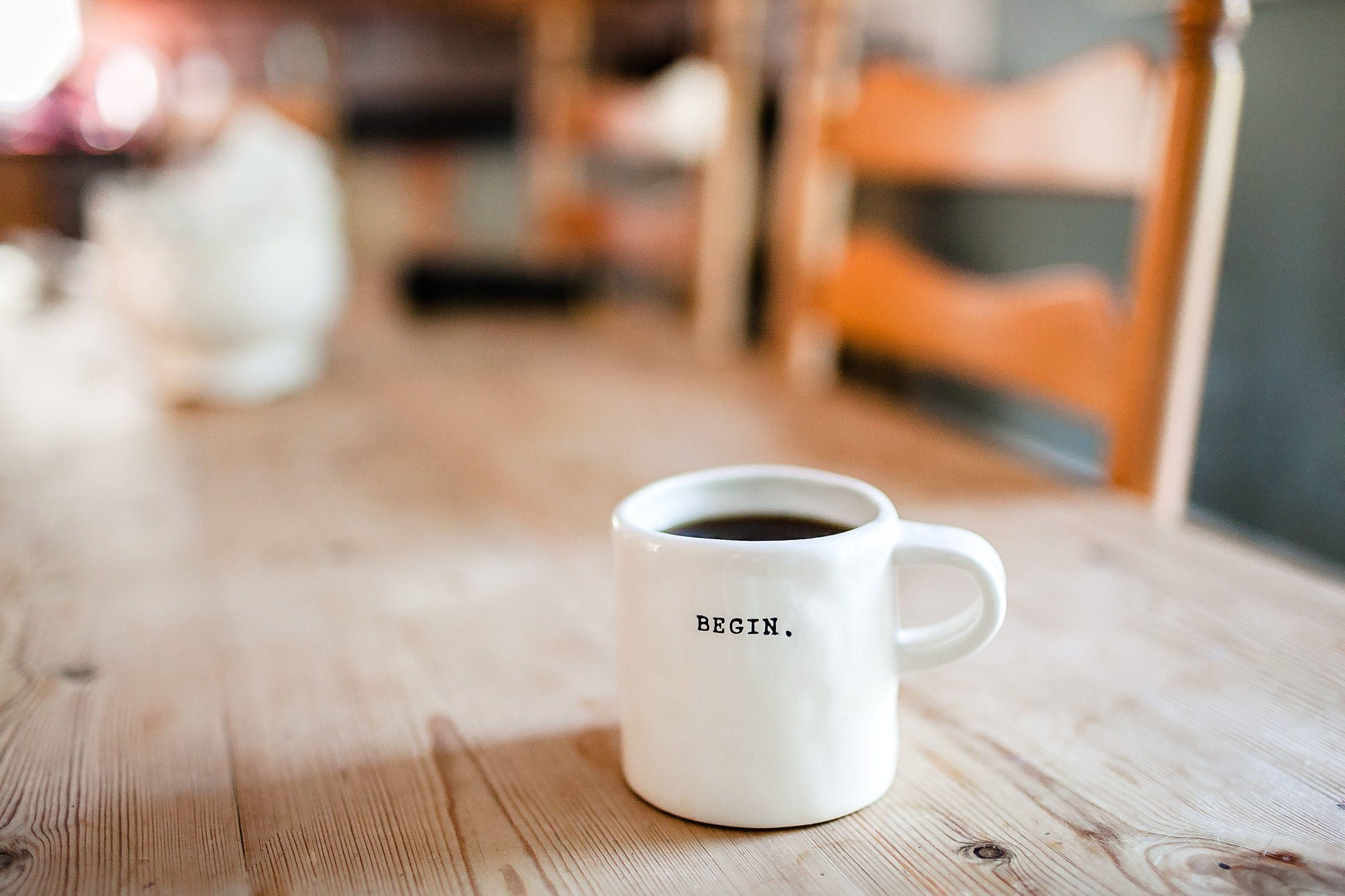Begin mug on a table