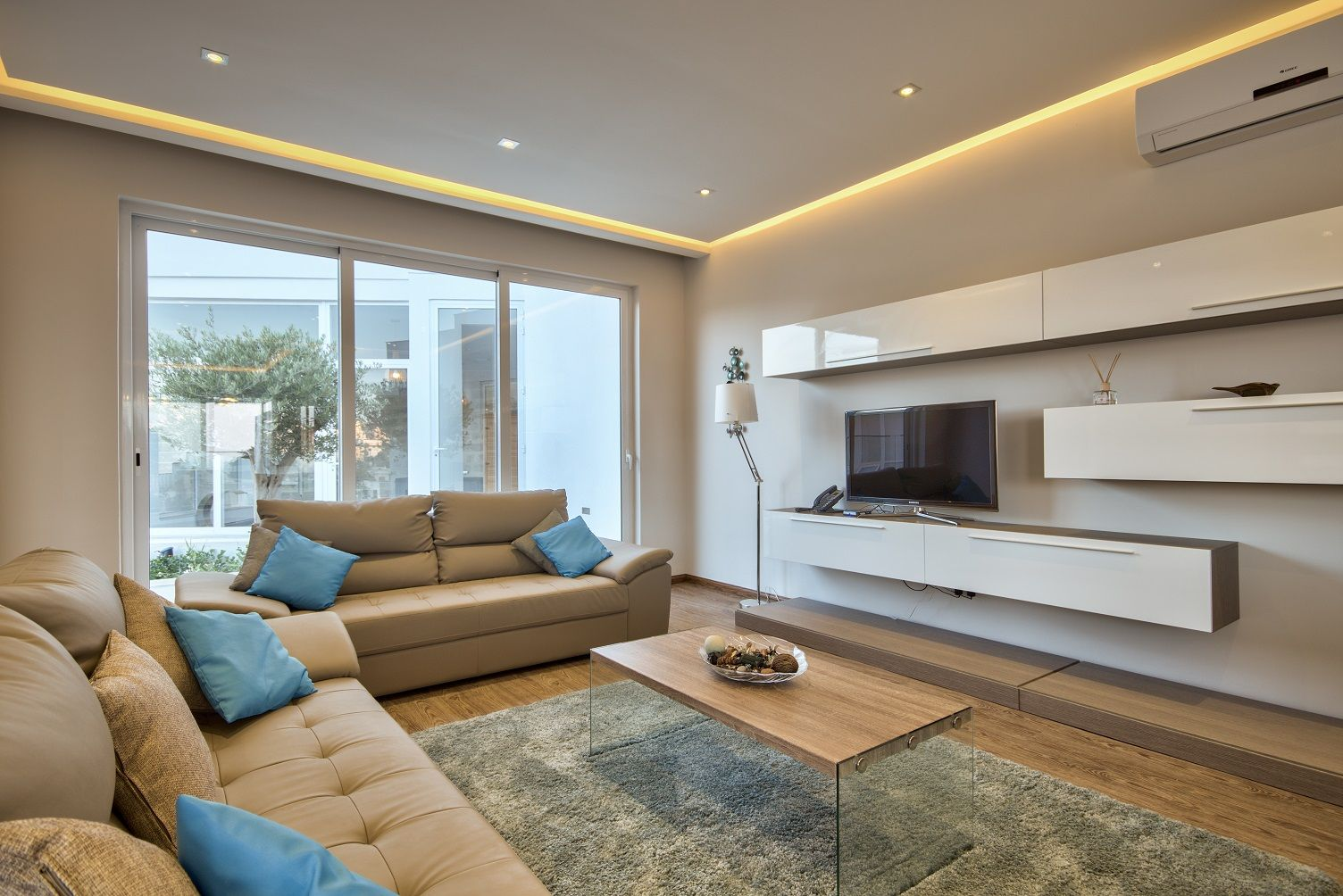 Living Area - Muted Tones and Streamlined Style - Villa ...
