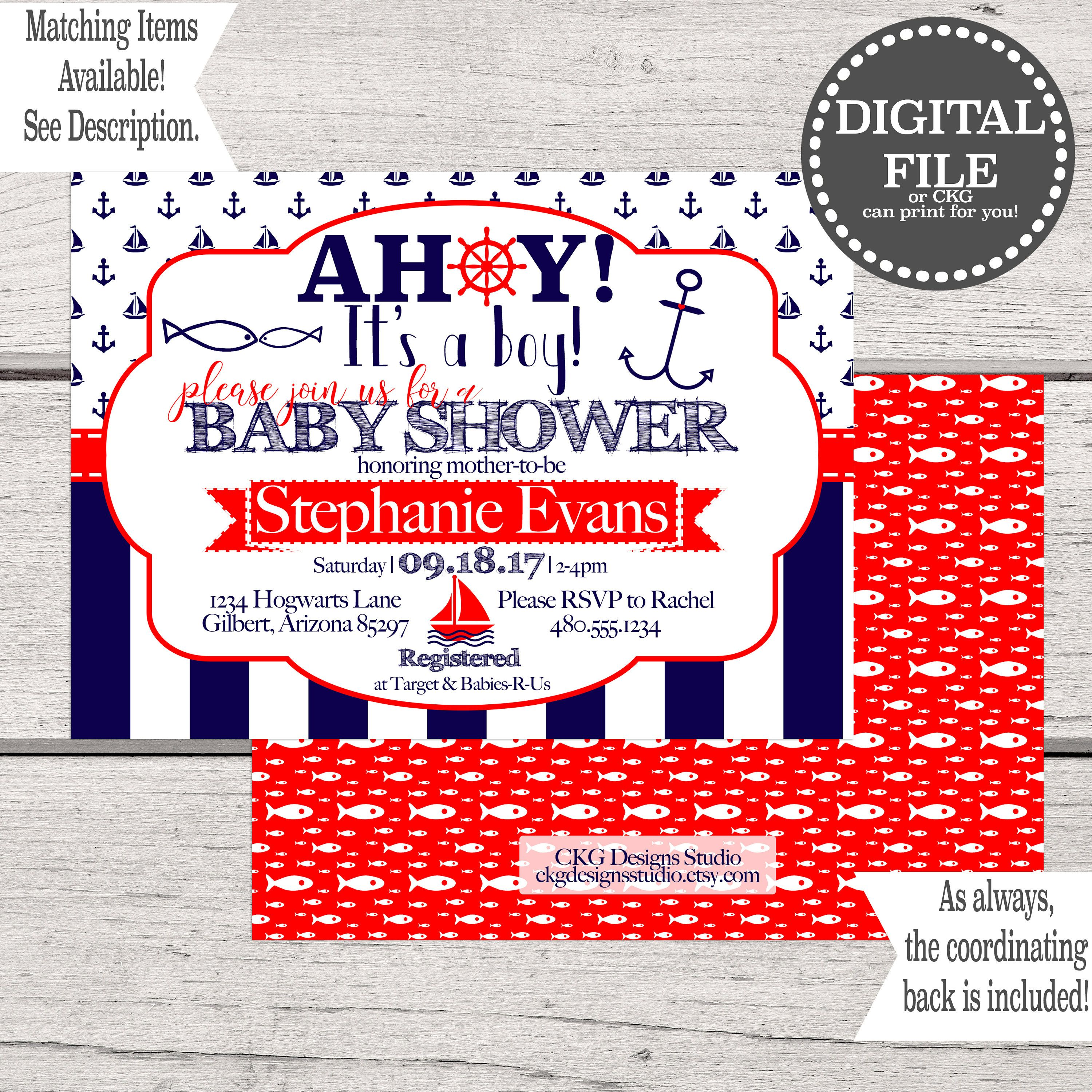 Baby Shower Invitation Boy | Nautical Baby Shower Invitation | Ahoy ...
