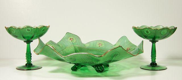 Antique Charleton Rose Cambridge Glass rare console bowl set: Retro Art Glass