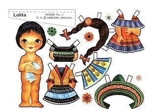 Lolita, una bambola di carta con abiti tipici dell'America Latina. (this little charmer is adorable fun)