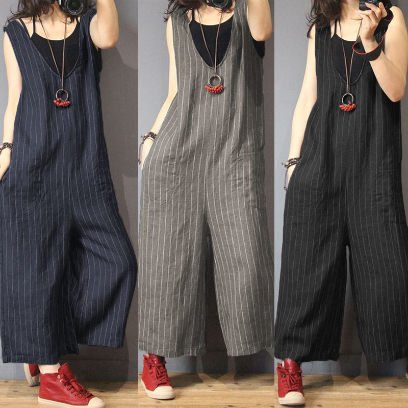ee4a888795f0 2018 Women Jumpsuits Vintage Striped V Neck Sleeveless Casual Cotton Wide  Leg Pants Female Loose Romper